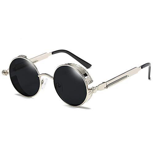 Vasko - Gafas de sol redondas de metal para hombre y mujer, estilo retro vintage, gafas de sol Uv400 (plata + negro)