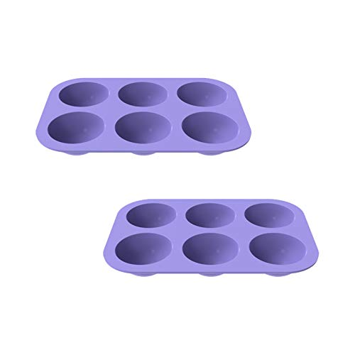 6-Cavity Semi Sphere Silicone Mold, 2PCS DIY Nonstick Cake Mold, Baking Mold for Making Hot Chocolate Bomb, Cake, Jelly, Dome Mousse (Purple)