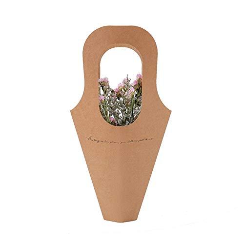 5Piezas Mango Bolsa de Flores de Papel Kraft Conos de Confeti de Boda con Forma de Bolsa de Ramo Bolsa de Plantas Creative Flowers Holder Wrapping Gift Flower Packaging