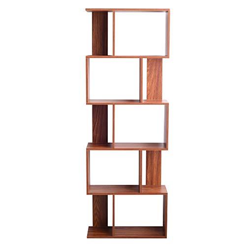 Rebecca Mobili Scaffale Legno MDF, Libreria Moderna, 5 Ripiani, Marrone Noce, Libri Documenti Smartworking Ufficio - Misure: 169 x 60 x 24 cm - Art. RE6401