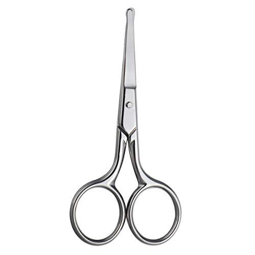 Healifty Ciseaux pour poils du nez Ciseaux en acier inoxydable Pointe arrondie Ciseaux pour poils du visage pour sourcils nez moustache barbe (argent)