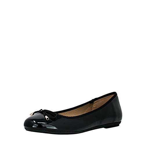 Fitters Footwear That Fits Damen Ballerina Fiona Synthetik Lack Ballerina klassisch mit Schleife Übergröße (42 EU, schwarz)