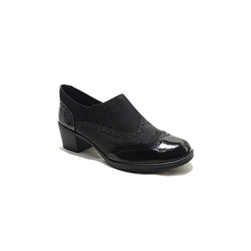 24 Horas 22676 - Zapatos de Mujer de Piel Negra Grabada Acharolada con Tacón de Goma - 38, Negre