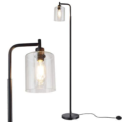 Depuley Lámpara de pie LED minimalista moderna, negra, de cristal y metal, E27, con interruptor de pie, máx. 60 W, lámpara de lectura para oficina, dormitorio, estudio, comedor