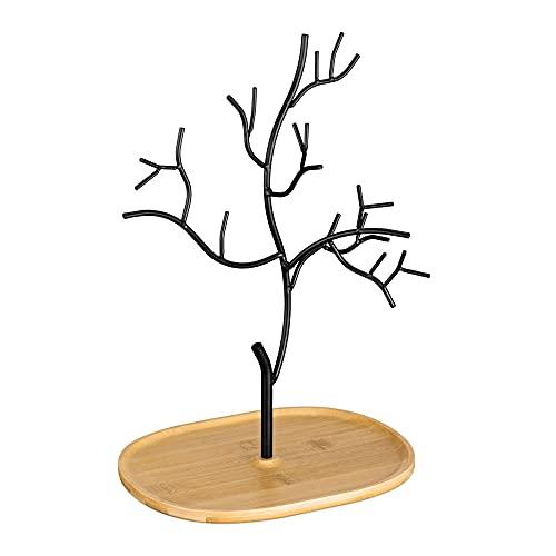 Navaris Portagioie Donna a forma di Albero - Portagioielli da Tavolo Collane Orecchini Anelli - Espositore Porta Gioielli Metallo e Bambù - Nero
