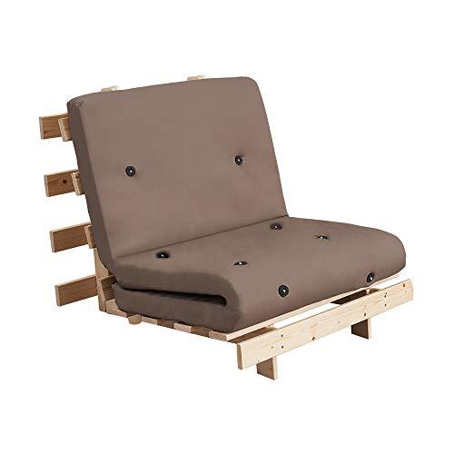 T.Mullen - Sofá Cama Doble con Estructura de Madera Maciza, sillón reclinable pequeño y futón para niños, Adolescentes, Adultos con colchón, Caqui, 1,20 m