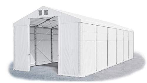 Das Company Tendone Deposito 8x12x4m Tendone Bianco Impermeabile 560g/m² Tenda da stoccaggio Rinforzo Gazebo Magazzino Tenda Capannone con telone in PVC Winter Plus MSD