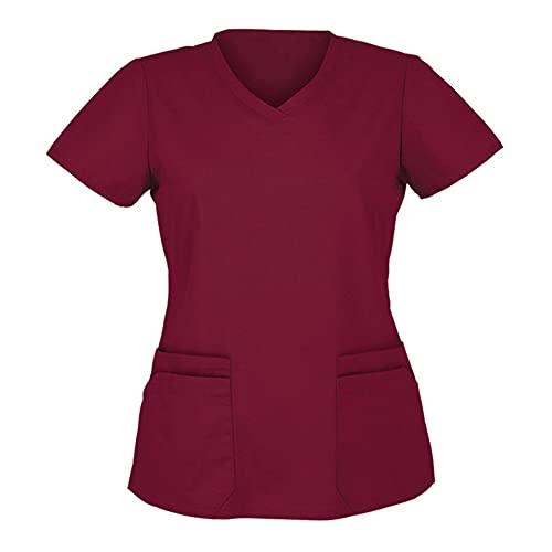 N\P Blusa de manga corta con cuello en V para mujer, Vino, Large