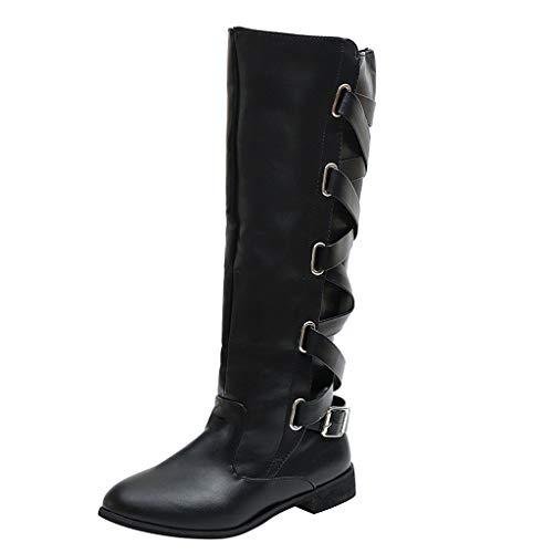 DOLDOA Damen Stiefel Damen Stiefel Winter Cross Strap Lange Schnee Kniehohe Stiefel Cowboy Warme Schuhe Khaki, Schwarz, Wein, Braun, Kaffee