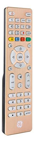 GE Backlit Universal Remote Control for Samsung, Vizio, LG, Sony, Sharp, Roku, Apple TV, TCL, Panasonic, Smart TV, Streaming Players, Blu-Ray, DVD, Simple Setup, 4-Device, Gold, 48845 (Renewed)