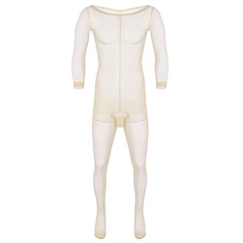 iixpin Herren Mesh Strumpfhosen Männer Transparent Body Bodysuit Overall Erotik Schlafanzug Männerbody Einteiler Unterhose Beige One Size