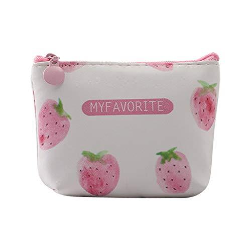 BURFLY Mädchen Mode SüßEs Frauen Mädchen Pulver Erdbeermünzgeldbeutel Nette Mini Rosa Geldbörsen Leder Aufbewahrungstasche 12X9X4 cm Kleine Bag