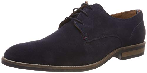 Tommy Hilfiger Essential Suede Lace Up Derby, Zapatos de Cordones Hombre, Azul Midnight 403, 42 EU