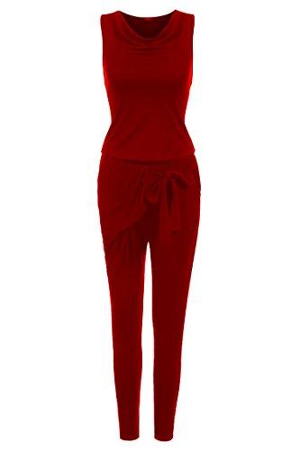 Zeagoo Damen Wasserkagen Hosenanzug Overall Catsuit Anzug Einteiler Jumpsuit Lang Hose (EU 36/ S, Weinrot)