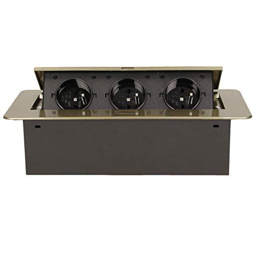ORNO AE-1337/BR Versenkbare Einbau Steckdosenleiste 3-fach 2500W, Anschlussfertig mit 1.5m Kabellänge Schukokabel,Farbe: Messing