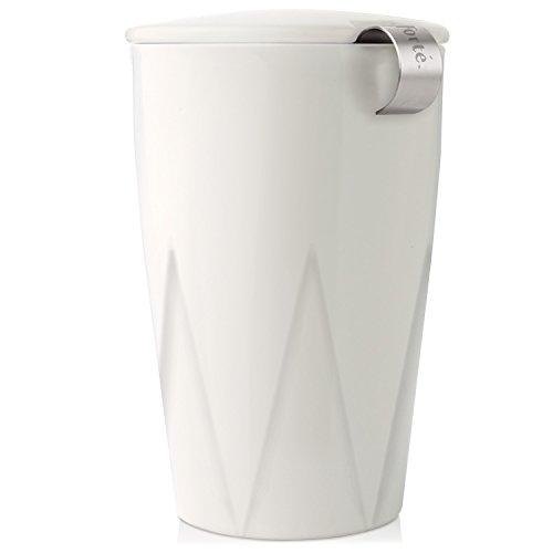 Tea Forte Kati Cup Tasse à thé en céramique avec infuseur et couvercle pour infuser, Blanche