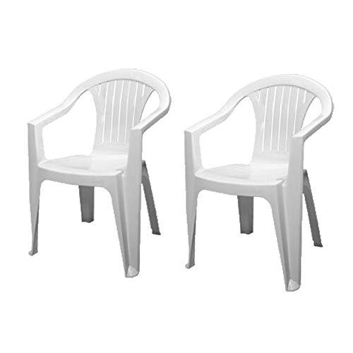 Sedia Bianca con Braccioli | 2 Pezzi | Poltroncina in Plastica Impilabile da Giardino Garden Bar Interno Esterno Campeggio Balcone Pizzeria