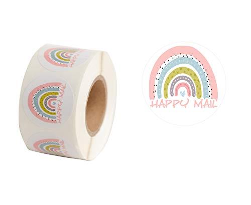 Happy Mail Süße Versandaufkleber, 500 Stück pro Rolle, 3,8 cm runde Verpackung, bunte Regenbogen-Aufkleber, dekorative Versiegelungsetiketten, kleine Geschäfte, Versand Dankeschön-Aufkleber