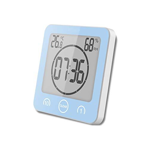 ALEENFOON Digital Badezimmeruhr Duschuhr Wasserdicht mit Saugnapf Thermometer zum Hinstellen Wand Dusche Countdown Timer Digitalwecker Batteriebetrieben Thermometer Hygrometer Innen (Blau)