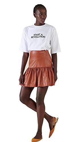 Silvian Heach Minifalda de mujer de piel sintética con volante