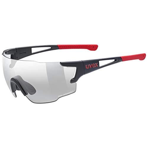 uvex Unisex– Erwachsene, sportstyle 804 V Sportbrille, selbsttönend, black mat red/smoke, one size