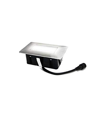 Mini Spot encastrable rectangle 6x10cm Inox Mini DECK Light 2W LED integrés IP67 Blanc Froid extérieur EASY CONNECT - 65440