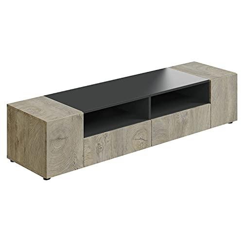 Modulo TV, Mueble de Salon, Juego de Muebles, Modelo Tamiko, Acabado en Gris Antracita y Roble Alaska, Medidas: 138 cm (Ancho) x 36 cm (Alto) 42 cm (Fondo)