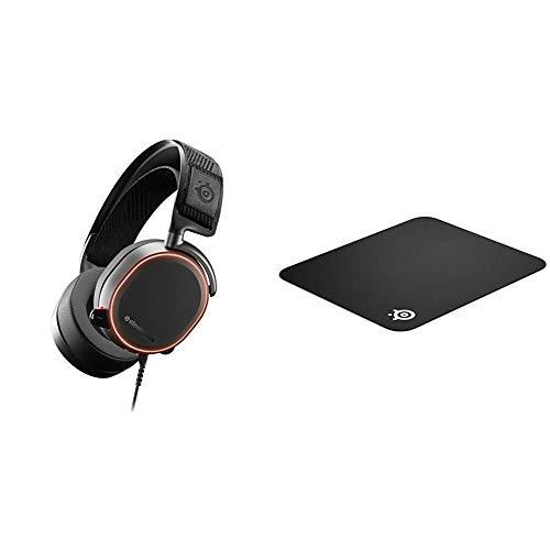 SteelSeries Arctis Pro – Gaming-Headset – hochauflösende Lautsprechertreiber – DTS Headphone:X v2.0 Surround & QcK - Gaming-Mauspad - 320mm x 270mm x 2mm - Stoff - Gummiunterseite - Schwarz