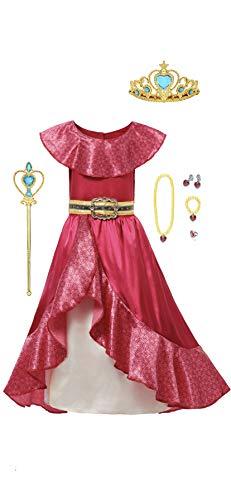 FashionModa4U Elena Costume Dress, Tiara, Wand and Jewelry Set, 3T.