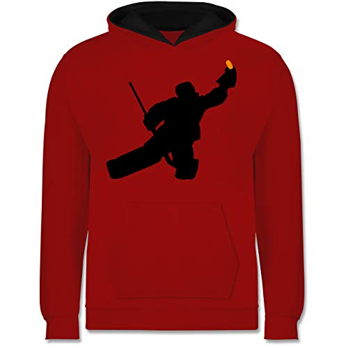 Sport Kind - Towart Eishockey Eishockeytorwart - 128 (7/8 Jahre) - Rot/Schwarz - Torwart Kinder Hoodie - JH003K - Kinder Kontrast Hoodie