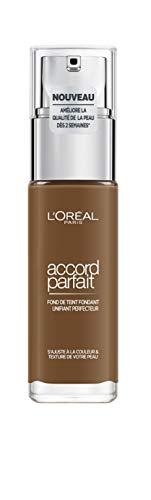 L'Oréal Paris - Fond de Teint Fluide Accord Parfait - Peaux Sèches à Normales - Teinte : Foncé Froid (9.R) - 30 ml