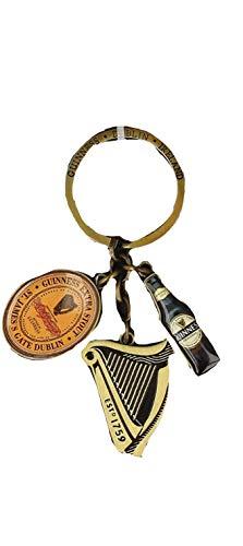 Offiziell Guinness Multi-Charm Schlüsselring mit Flasche, Logo und Harfe Amulette