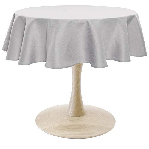 WOLTU TD3051hgr Tischdecke Tischtuch Leinendecke Leinen Optik Lotuseffekt Fleckschutz pflegeleicht abwaschbar schmutzabweisend Farbe & Größe wählbar Rund 140 cm Hell Grau