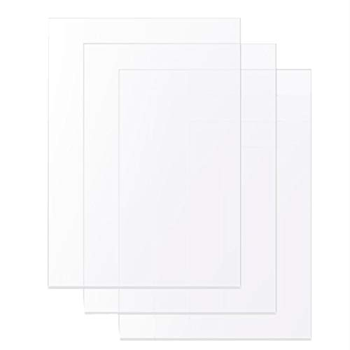 2mm Transparent Clear Acrylic Sheets 297mm x 210mm/ A4 0.08 inch Thick 3 Pieces, Plexiglass Plastic Sheet for Picture Frame Glass Replacement, Advertisement Signs, Painting, Projects Display