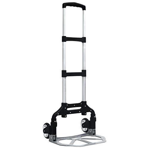 vidaXL Carrito de Transporte Plegable de Subir Escaleras Elevada Portátil Carrito de Carga Carretilla de Mano de Aluminio Plateado 70 Kg