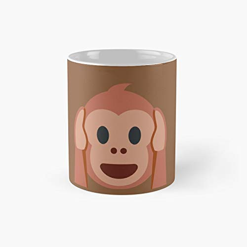 Hear No Evil Monkey Emoji Best Friends Forever Gift Classic Mug - Ceramic Coffee White (11 Ounce) Tea Cup Gifts For Bestie, Mom And Dad, Lover, Lgbt