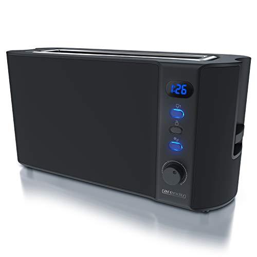 Arendo - Toaster Langschlitz 2 Scheiben - Defrost Funktion - 1000W - Doppelwandgehäuse - Integrierter Brötchenaufsatz - Bräunungsgrade 1-6 – Display mit Restzeitanzeige - Edelstahl schwarz matt