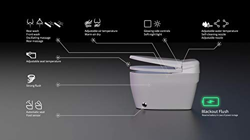 EUROTO [Newest 2021] One-Piece Dual Flush, Integrated Bidet and Toilet,luxury auto open and close lid heated seat, warm dryer, White (Foot Feel Flip Flap Smart Toilet)