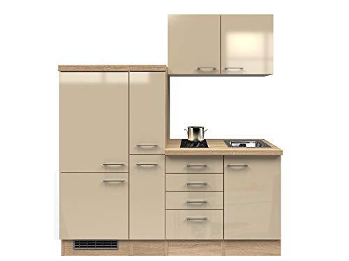 Smart Möbel Küchenzeile 190 cm Kaschmir Glanz/Sonoma Eiche mit Glaskeramik-Kochfeld, Kühlschrank - Neapel