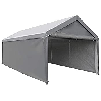 Abba Patio Extra Large Heavy Duty Carport with Removable Sidewalls Portable Garage Car Canopy Boat Shelter Tent for Party Wedding Garden Storage Shed 8 Legs 12 x 20 Feet Dark Grey