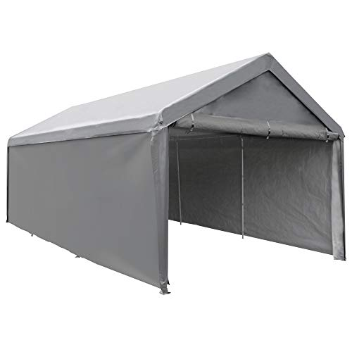 Abba Patio Extra Large Heavy Duty Carport with Removable Sidewalls Portable Garage Car Canopy Boat Shelter Tent for Party, Wedding, Garden Storage Shed 8 Legs, 12 x 20 Feet, Dark Grey