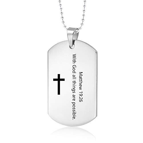 PJ JEWELRY Mit Gott sind alle Dinge möglich Matthew 19:26 Inspirierende Männer Christian Bibe Verse Dogtag Halskette