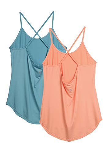 icyzone Damen Sport Shirt Yoga Rückenfrei Träger Top Gym Fitness Oberteile 2er Pack Tanktop (M, Blau/Orange)