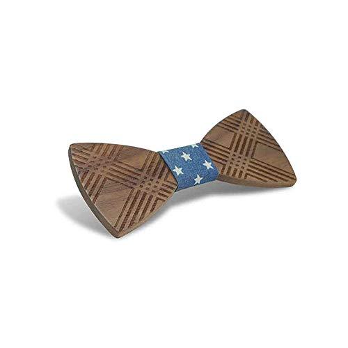 Tie Freizeit Herren Holz Fliege Kreuz geschnitzt Manschette Blume Taschentuch Business Butterfly Anzug Krawatte (Farbe : Navy Blue, Größe : 5 * 9.5cm)