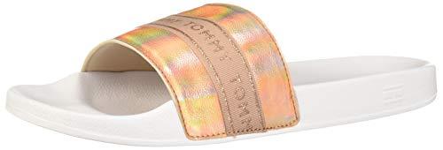 Tommy Hilfiger Damen Sandalen Pantoletten Badeschuhe Sommerschuhe Freizeitschuhe FW0FW04811 Weiß Gold (Rose) 40 EU