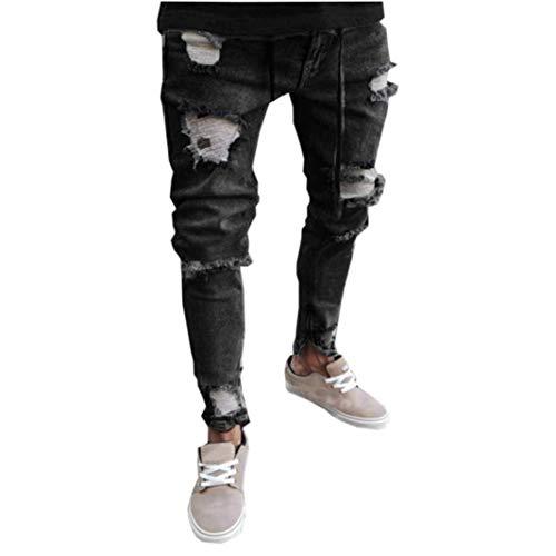 Targogo Skinny Stretch Denim Pantalones para Ripped Festival Ganado Hombres Moda Freyed Slim Fit Jeans Pantalones Hombres Pantalones Sueltos Ocio Hombres Otoño Denim Recto Arrancado, Dunkelgrau, 34-37