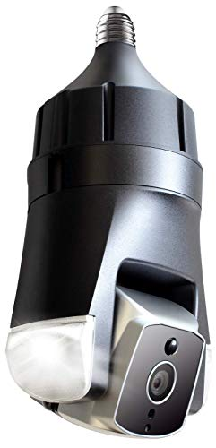 Amaryllo Triton: Biometric Auto Tracking Outdoor Light Bulb PTZ Wi-Fi Security Camera with Face Recognition, Support Fire Warning, Support Person, Vehicle, and Pet Detection, IP66, 1080p FHD E26