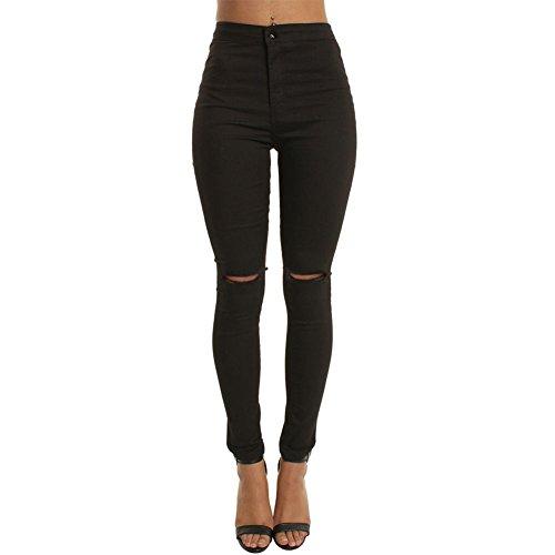 CHIYEEE Damen Röhrenjeans Skinny Fit Ripped Loch Jeans Aufgerissene Hose Schwarz XL