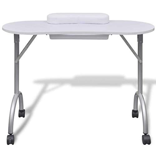 Mesa Portátil de Manicura Table Plegable para Belleza Salón Blanco