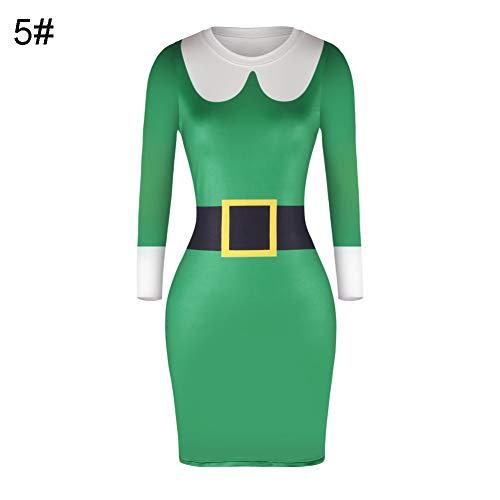 Lai-LYQ Dames Kerstmis Print Ronde hals Lange Mouw Hoge Taille Bodycon Midi Jurk Xmas Party Kostuum